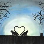 Katzenliebe, Aquarell